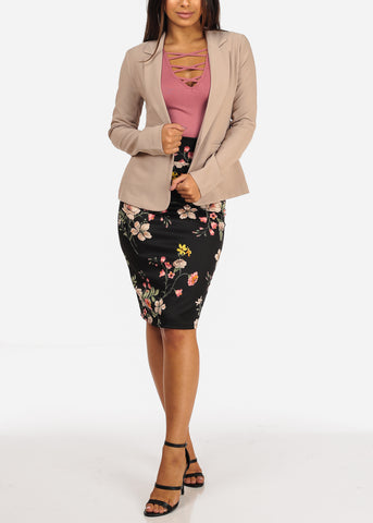 Pink Floral Pull On Pencil Midi Skirt