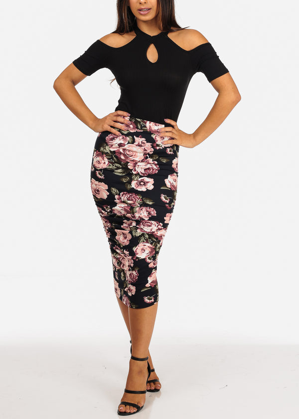 Ruched High Rise Floral Print Skirt