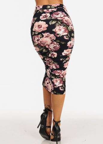 Black High Waisted Ruched Sides Floral Print Midi Skirt