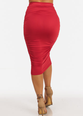 Image of Sexy Solid Red High Waisted Ruched Side Skirt
