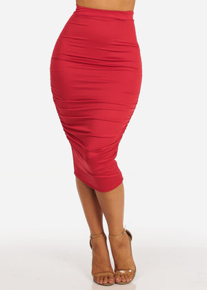 Sexy Solid Red High Waisted Ruched Side Skirt