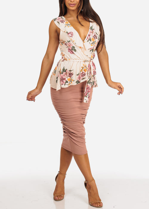 High Waisted Mauve Ruched Sides Midi Skirt