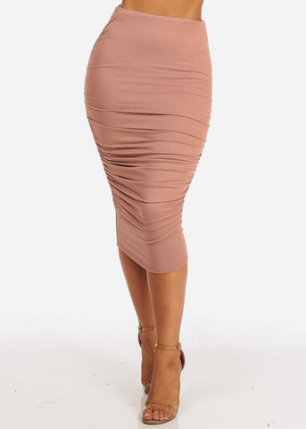 Image of High Waisted Mauve Ruched Sides Midi Skirt