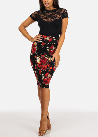 Pull On Red Floral Print Pencil Midi Skirt