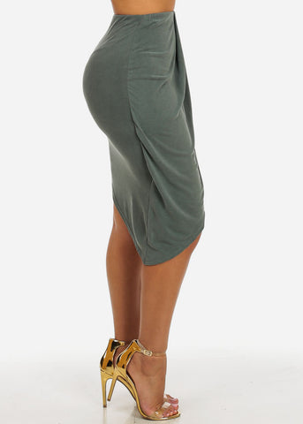 Image of Olive High Waisted Stretchy Asymmetrical Hem Skirt