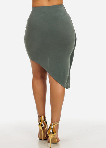 Image of Olive Asymmetrical Hem Skirt