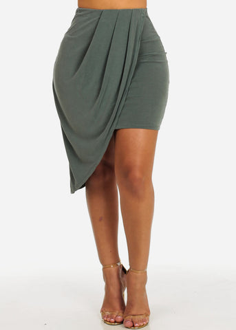Olive High Waisted Stretchy Asymmetrical Hem Skirt