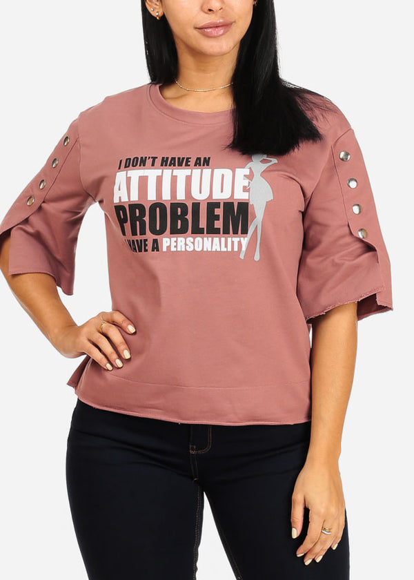 Attitude Problem Graphic Mauve Top