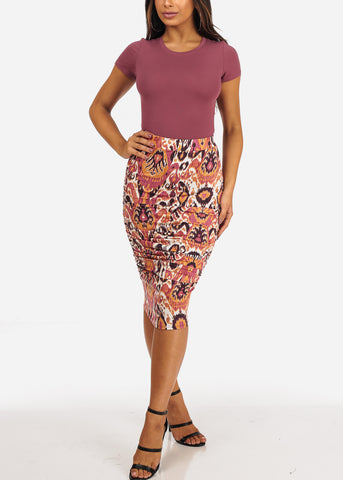 Printed Multicolor Ruched Sides Midi Skirt