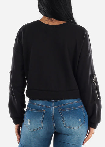 Image of Black Long Sleeve Fleece Pullover