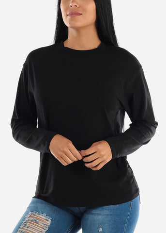 Black Long Sleeve Loose Fit Jersey Top