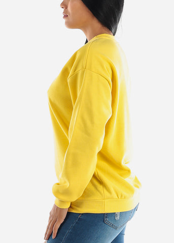 Image of Yellow Loose Fit Fleece Sweatshirt