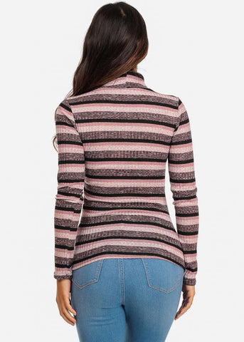 Stripe Mock Neck Light Sweater (Pink)
