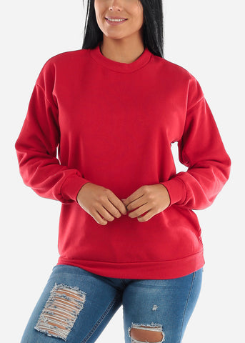 Red Loose Fit Fleece Sweatshirt