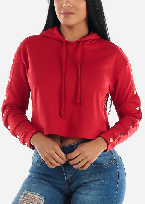 Snap Button Down Red Crop Hoodie