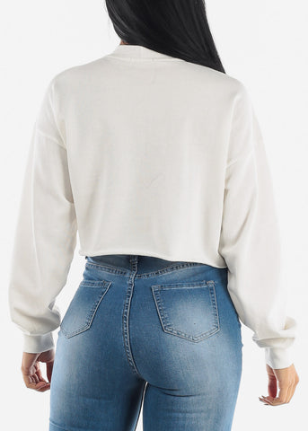 Long Sleeve Raw Hem White Crop Pullover