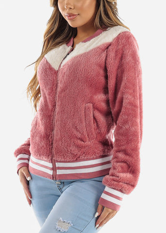 Fluffy Rose Bomber Jacket