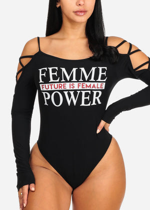 Femme Power Graphic Black Bodysuit