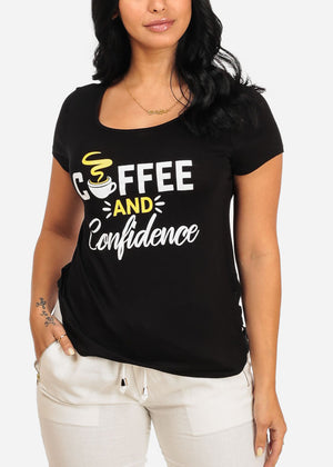Coffee And Confidence Graphic Black Top