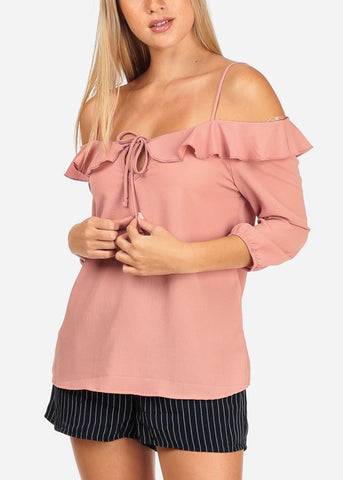 Women's Junior Stylish Casual Going Out Lightweight Cold Shoulder Keyhole Neckline Rose 3/4 Sleeve Blouse Top
