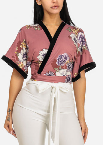 Image of Mauve Wrap Front Floral Print Top