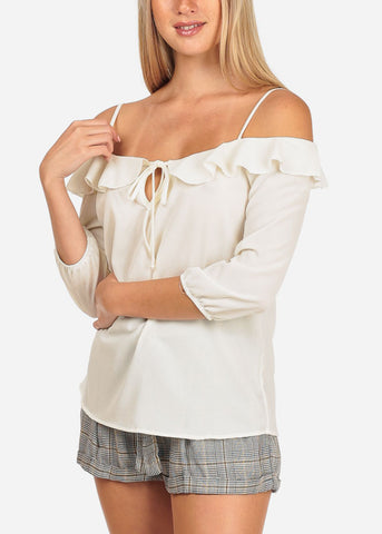 Women's Junior Stylish Casual Going Out Lightweight Cold Shoulder Keyhole Neckline Ivory 3/4 Sleeve Blouse Top