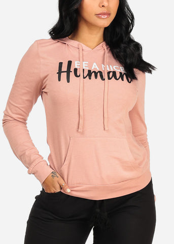 Image of Be A Nice Human Graphic Sweater W Hood