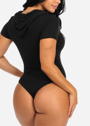 Holy Chic Graphic Black Bodysuit W Hood