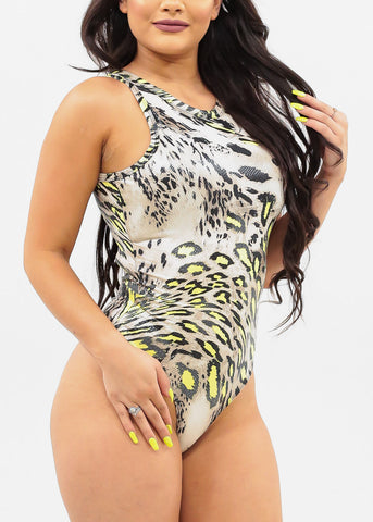 Women's Junior Ladies Sexy Clubwear Night Out Sleeveless Cheetah Animal Print Party Bodysuit
