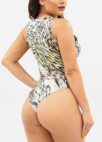 Image of Neon Yellow Animal Print Bodysuit
