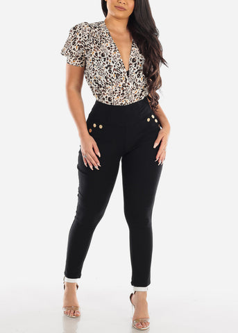 Sexy Lightweight Brown Multi Color Animal Print Short Sleeve Bodysuit