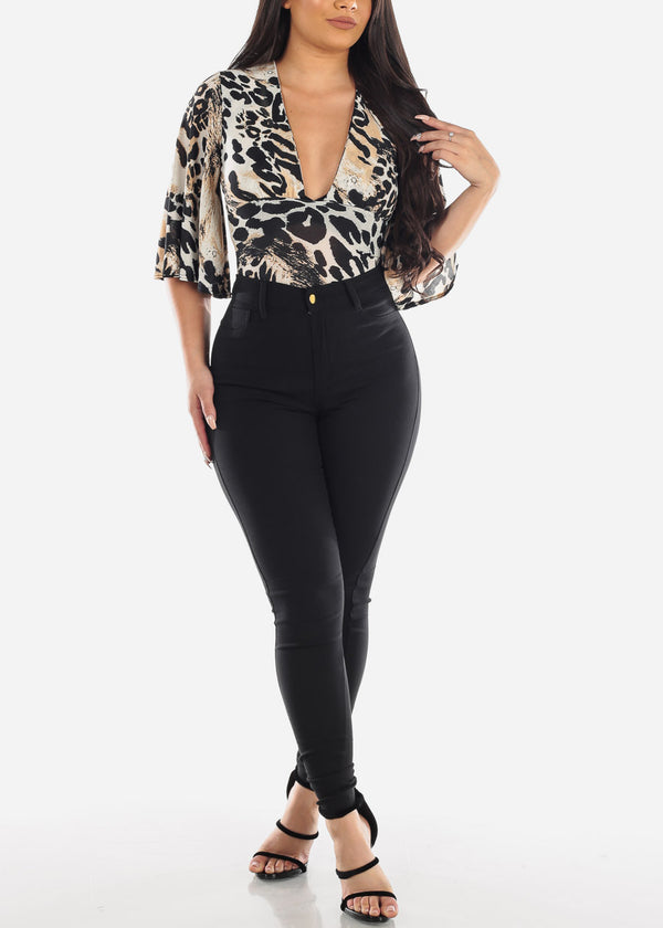 Taupe Animal Print Bodysuit