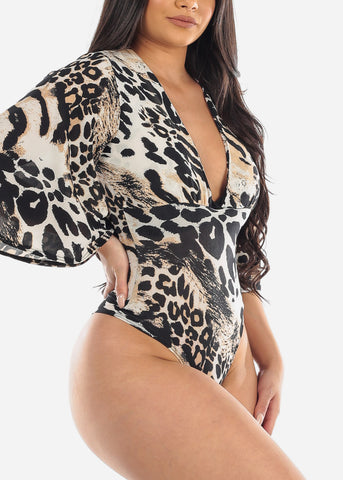 Image of Sexy Taupe Animal Print Vneck Super Stretchy Bodysuit For Women Junior