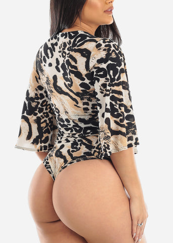 Image of Taupe Animal Print Bodysuit