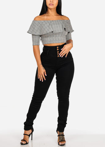 Stretchy Off Shoulder Ruffle Detail Crop Top