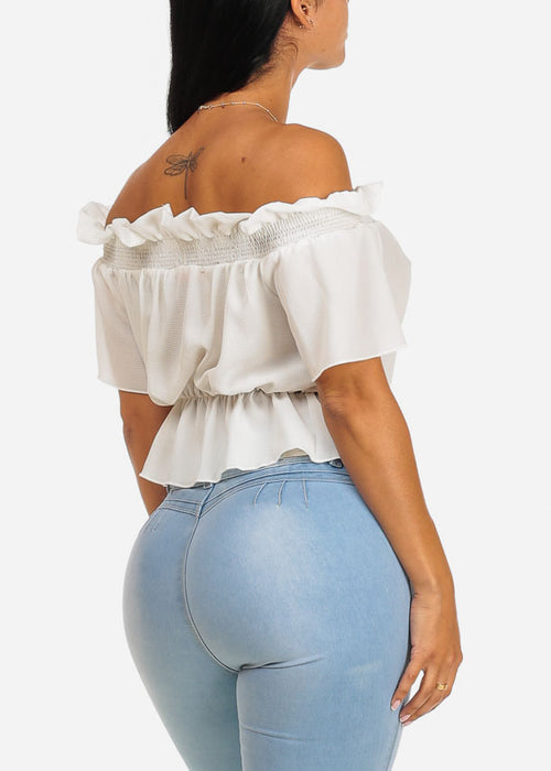 White Off-Shoulder Elastic Detail Top