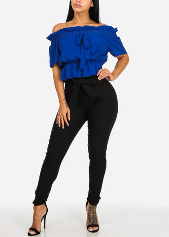Image of Blue Off-Shoulder Elastic Detail Blouse