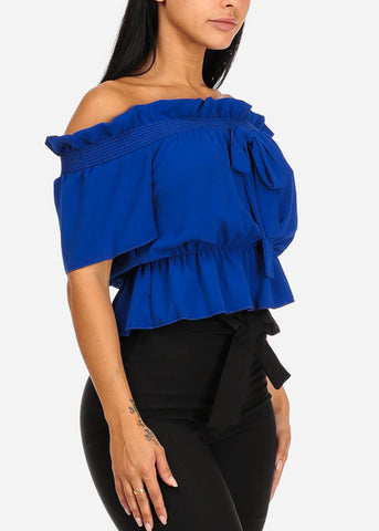 Blue Off-Shoulder Elastic Detail Blouse