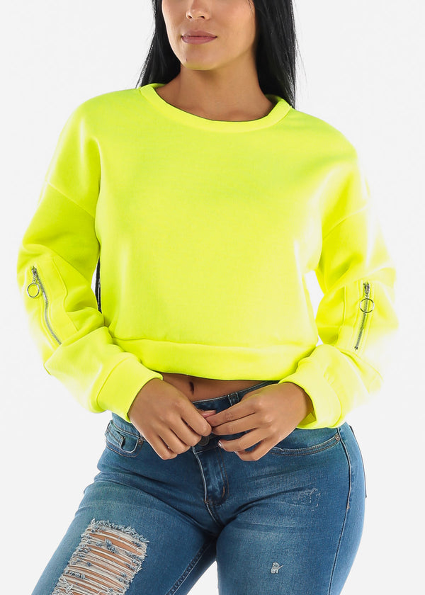 Neon Yellow Fleece Pullover