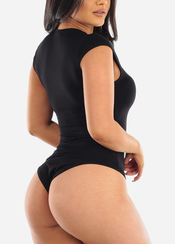 Image of Casual Black Bodysuit
