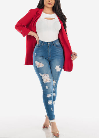 MX Distressed Ultra High Waisted Skinny Jeans