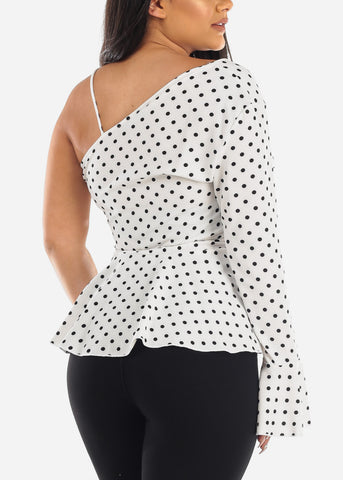 Polka Dot White Peplum Top