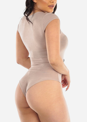 Image of Casual Khaki Bodysuit