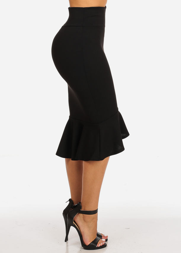 High Waisted Ruffle Hem Black Skirt