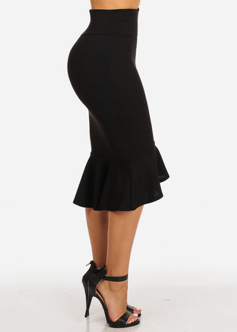 Image of High Waisted Ruffle Hem Black Skirt