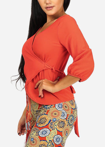 Image of Casual Solid Orange Wrap Front Top