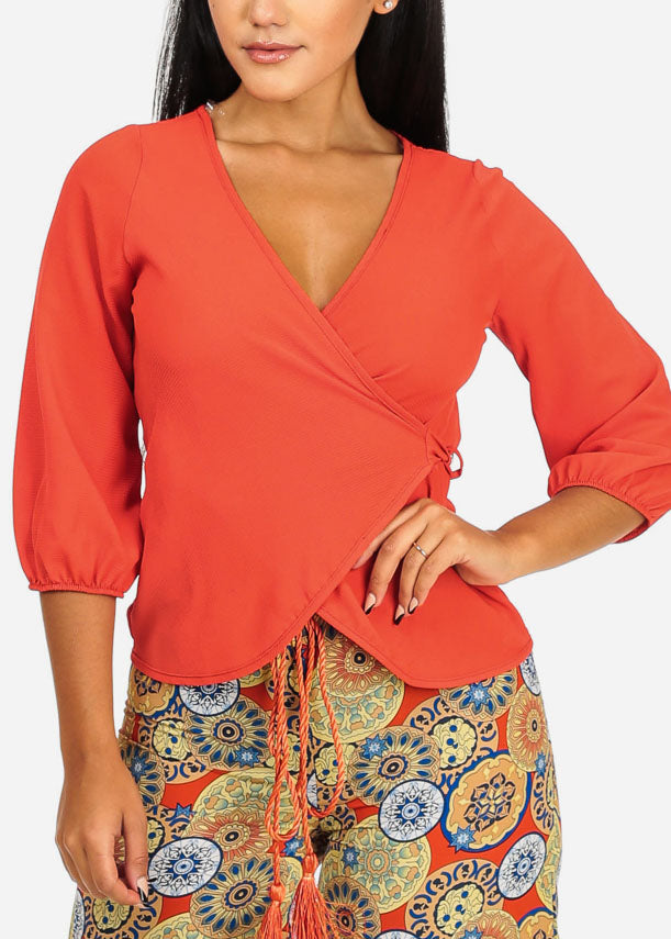 Casual Solid Orange Wrap Front Top