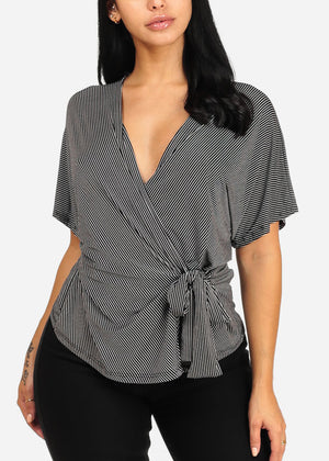 Stylish Tie Front Black Stripe Top