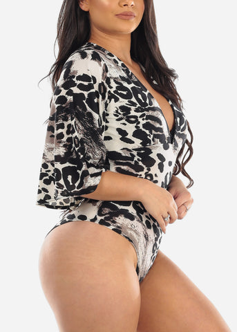 Image of Sexy Grey Animal Print V Neck Super Stretchy Bodysuit For Women Junior