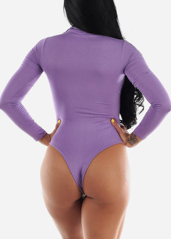 Image of Long Sleeve Lavender Face Mask Bodysuit